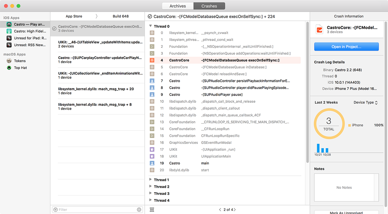 Xcode's Crashes Tab showing crashes received from users.